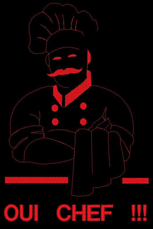 cuistot oui chef motif de broderie machine