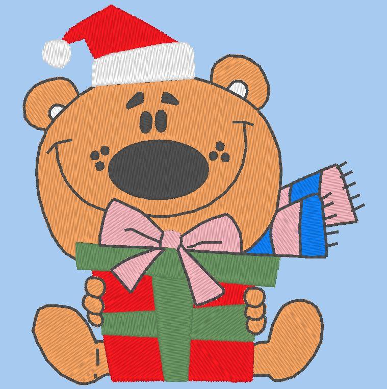 disegno di ricamo di Natale teddy machine