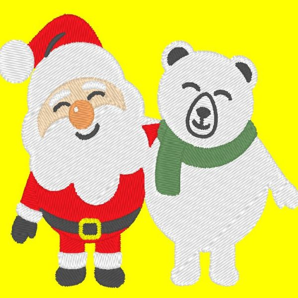 santa claus and his polar bear machine embroidery design