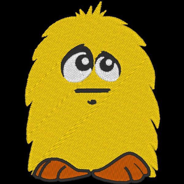Desenho de bordado de um pequeno brinquedo de pelúcia amarelo em máquina de pelúcia amarela