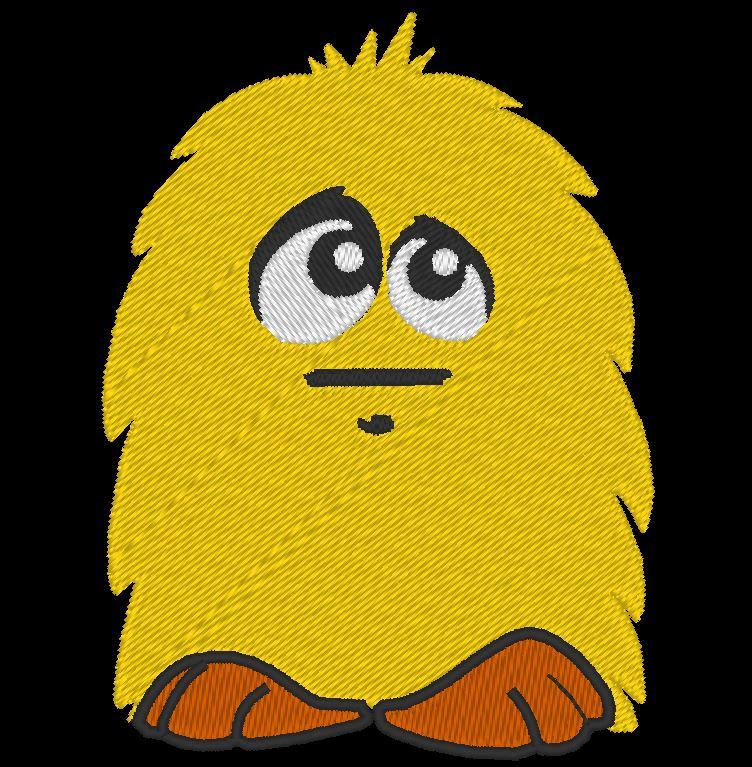 piccolo motivo di ricamo a macchina peloso giallo di un simpatico peluche giallo