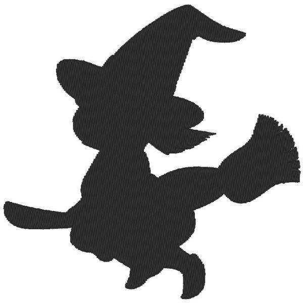 Sombra pequeña bruja máquina bordado diseño gratis
