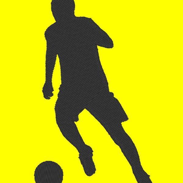 silhouette de footballeur motif de broderie machine