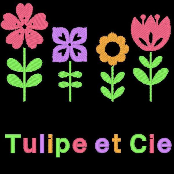 Тюльпан и фирменный дизайн машинной вышивки