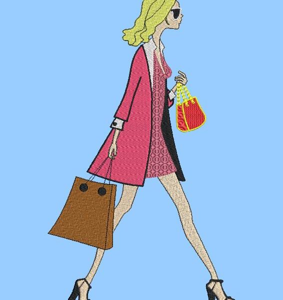 法国风情。 机刺绣设计的一个非常时尚的女人,带着手提包和购物袋在街上行走。 框架13 x 18/20 x20。文件格式PES,CSD,EXP,HUS,SHV,VIP,XXX,DST,PCS,JEF,VP3,SEW,EMB…即时下载