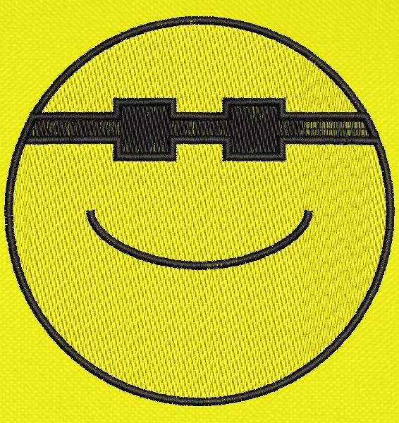 emoticon happy sunglasses Cornice per ricamo a macchina 10 x 10 Formati file PES, CSD, EXP, HUS, SHV, VIP, XXX, DST, PCS, JEF, VP3, SEW, EMB ... Download immediato