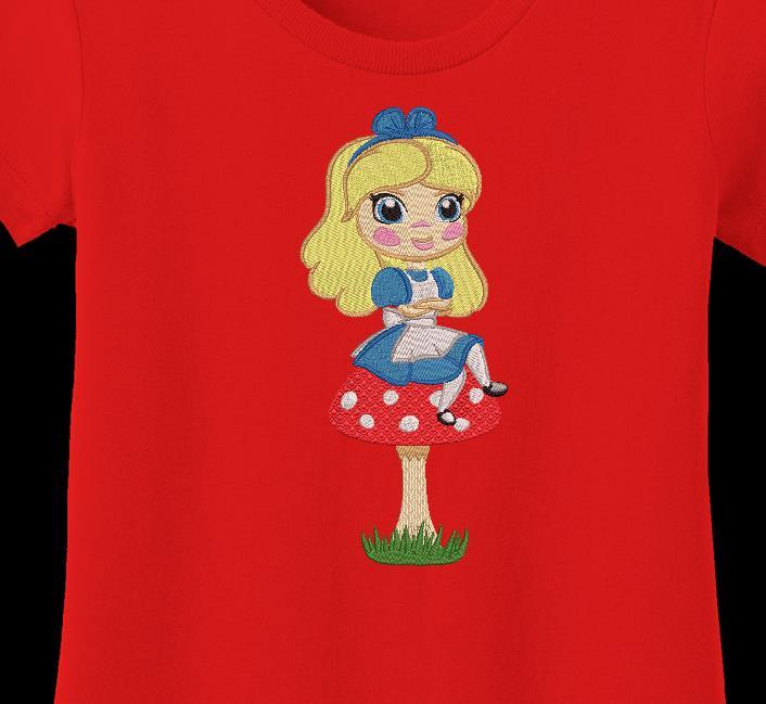 Alice sur son champignon motif de broderie machine