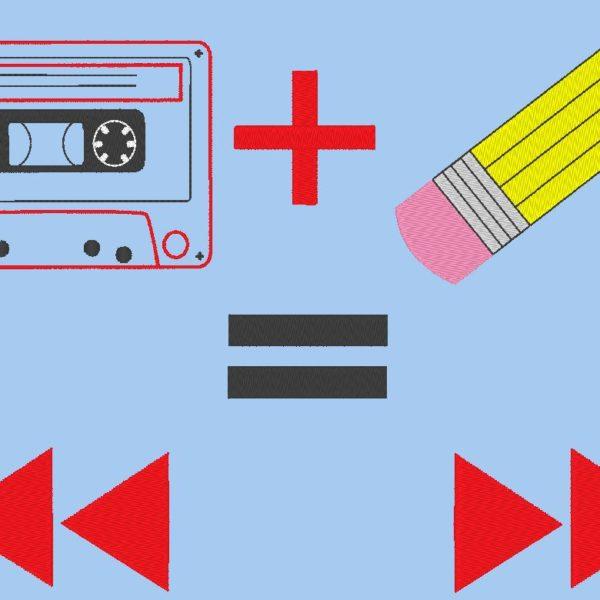 diseño de bordado de máquina de cassette de audio vintage