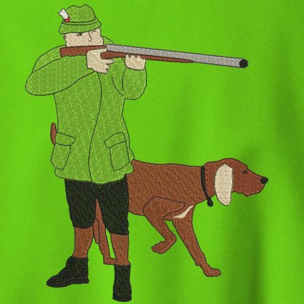 caçador e seu cão de caça Desenho de bordado de máquina de um caçador e seu cão de caça, com o seu rifle de armação 20 x 30 PES, CSD, EXP, HUS, SHV, VIP, XXX, DST, PCS formatos de arquivo , VP3, SEW, EMB ... Download imediato