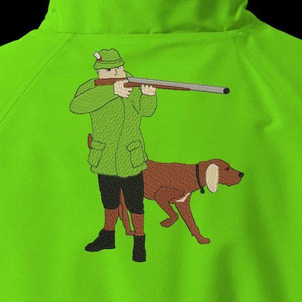 cazador y su perro de caza Diseño de bordado a máquina de un cazador y su perro de caza, apuntando con su rifle de marco de 20 x 30 PES, CSD, EXP, HUS, SHV, VIP, XXX, DST, formatos de archivo PCS , VP3, SEW, EMB ... Descarga instantánea