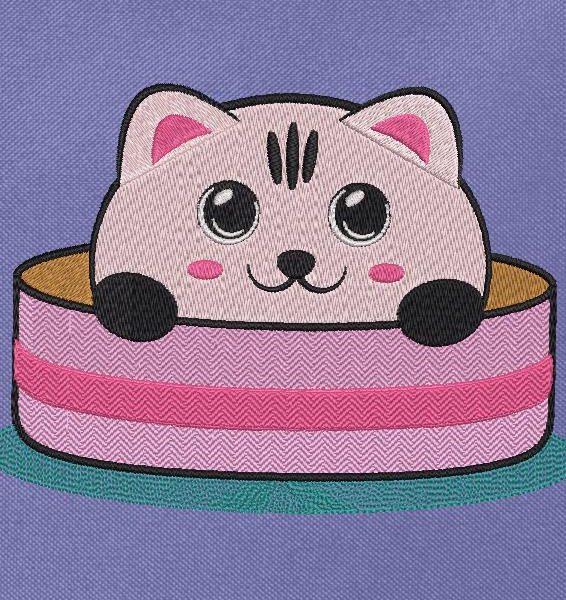 simpatico gattino nella sua scatola macchina ricamo design di un simpatico gattino che sporge la testa fuori da una cornice di scatola cappello 13 x 18 formati di file PES, CSD, EXP, HUS, SHV, VIP, XXX, DST, PCS JEF, VP3, SEW, EMB ...