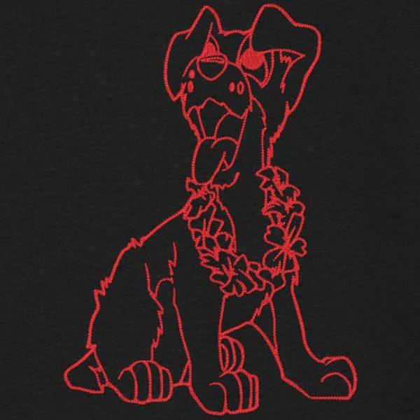 chien fun et son collier de fleurs Motif de broderie machine redwork d'un chien trop fun avec son collier de fleurs . cadre 13 x 18 / 20 x 30 Formats des fichiers PES,CSD,EXP,HUS,SHV,VIP,XXX,DST,PCS,JEF,VP3,EMB… Téléchargement immédiat après votre paiement