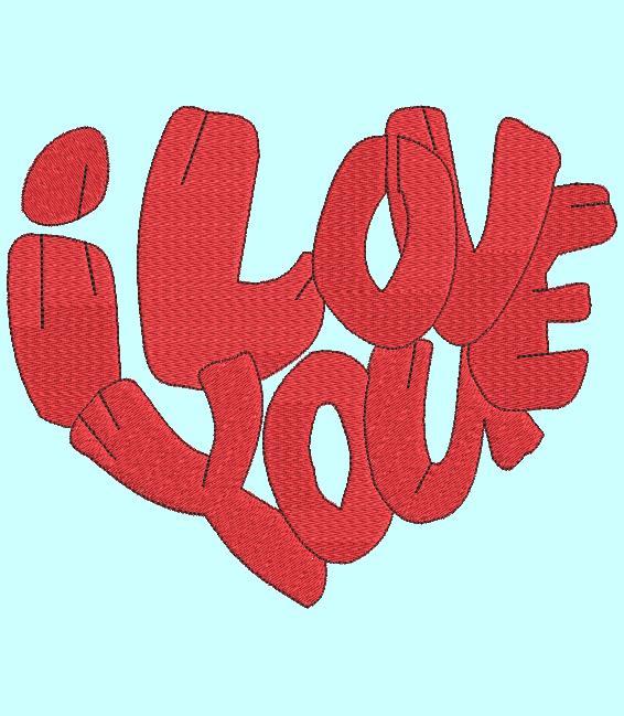 cœur I love you Motif de broderie machine d'un coeur reproduit avec la phrase de la langue anglaise la plus connues » I love you » ou « je t'aime » motif idéal pour une composition . cadre 10 x 10/ 20 x 20 Formats des fichiers PES,CSD,EXP,HUS,SHV,VIP,XXX,DST,PCS,JEF,VP3,SEW,EMB… Téléchargement immédiat