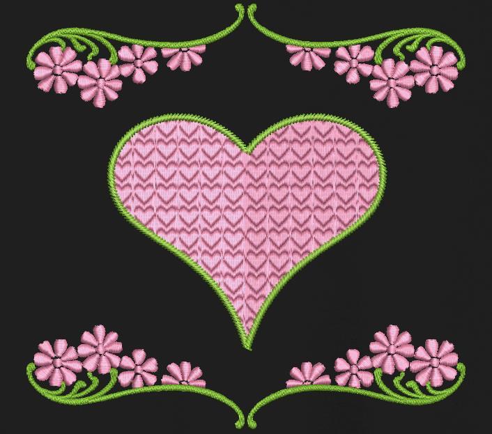 cœurs et fleurs Motif de broderie machine cadre 10 x 10 / 20 x 20 Formats des fichiers PES,CSD,EXP,HUS,SHV,VIP,XXX,DST,PCS,JEF,VP3,SEW,EMB… Téléchargement immédiat