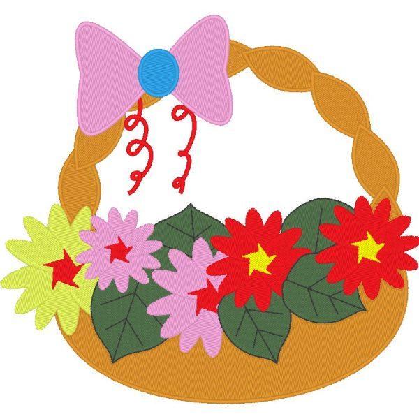 arranjo floral 2 Cesta de flores com uma gravata borboleta rosa Quadro de desenho de bordado a máquina 20 x 20/10 x 10 Formatos de arquivo PES, CSD, EXP, HUS, SHV, VIP, XXX, DST, PCS, JEF Download instantâneo