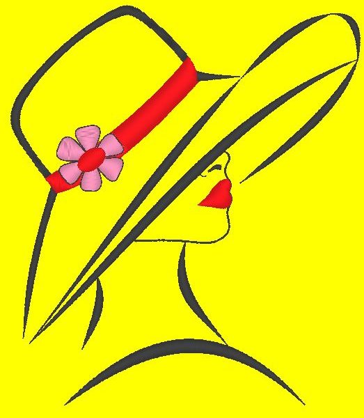 elegant woman with a hat machine embroidery design of a very elegant woman with a large hat and a beautiful flower frame 10 x 10/13 x 18/20 x 20 File formats PES, CSD, EXP, HUS, SHV, VIP, XXX, DST, PCS, JEF, VP3, SEW, EMB ... Instant download