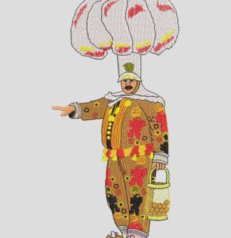 gille de binche La Gille è il personaggio più famoso del carnevale di Binche in Belgio. Nel giorno del Mardi Gras, mille Gilles vagano per le strade della città al suono di tamburi e gruppi di strumenti in ottone, composti da trombe, trombe, tromboni, tube e subbassofoni, oltre a clarinetti o tubi. 20 x 30 frame PES, CSD, EXP, HUS, SHV, VIP, XXX, DST, PCS, VP3, SEW, formati di file EMB ... Download immediato