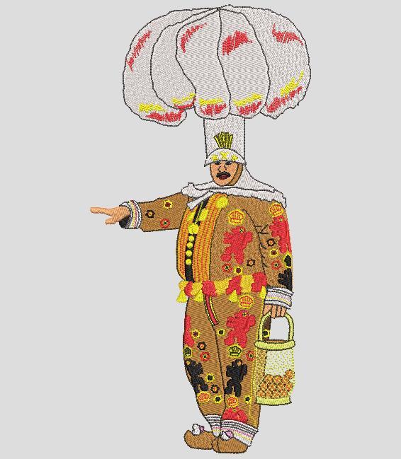 gille de binche Le Gille es el personaje más famoso del carnaval de Binche, Bélgica. En Mardi Gras, mil Gilles deambulan por las calles de la ciudad al son de tambores y grupos de metales, compuestos por trompetas, cornetas, trombones, tubas y soubasófonos, además de clarinetes o flautas. frame 20 x 30 Formatos de archivo PES, CSD, EXP, HUS, SHV, VIP, XXX, DST, PCS, VP3, SEW, EMB… Descarga instantánea