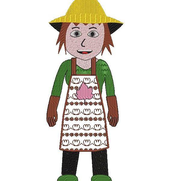 jardineiro ou jardineiro mulher desenho de bordado de máquina de uma jardineira ou jardineiro com seu avental e chapéu de palha. Coleção de profissões-quadro 13 x 18/20 x 30 formatos de arquivo PES, CSD, EXP, HUS, SHV, VIP, XXX, DST, PCS, JEF, VP3, SEW, EMB…