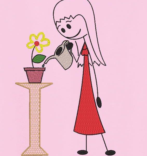 la ragazza con l'annaffiatoio ricama a macchina il disegno di una ragazza che innaffia il grazioso fiorellino nel suo vaso di terracotta. frame 13 x 18/20 x 20 Formati file PES, CSD, EXP, HUS, SHV, VIP, XXX, DST, PCS, JEF, VP3, SEW, EMB ...