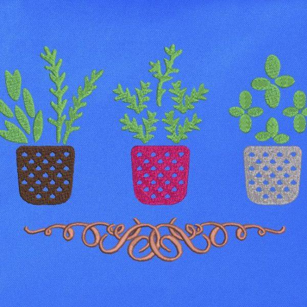 minhas ervas aromáticas Desenho de bordado de máquina de 3 frascos bonitos com ervas aromáticas e uma linda moldura de arabesco 13 x 18/20 x 30 Formatos de arquivo PES, CSD, EXP, HUS, SHV, VIP, XXX, DST, PCS, JEF, VP3, SEW, EMB ... Download imediato
