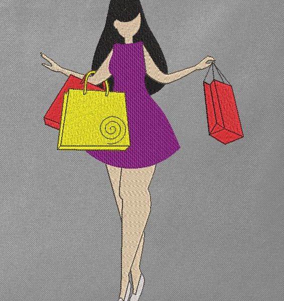 Miss Shopping Machine ricamo design di una bella signorina rotonda che sembra felice di fare shopping 13 x 18/20 x 20 Formati di file PES, CSD, EXP, HUS, SHV, VIP, XXX, DST, PCS, JEF, VP3, SEW, EMB ... Download immediato
