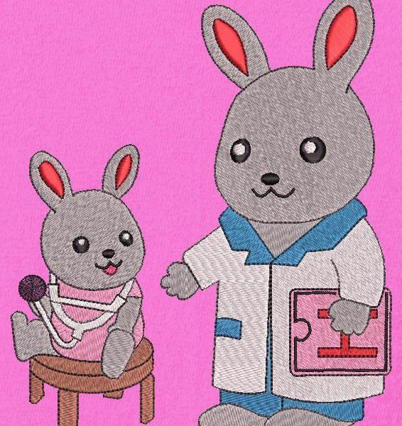 petit lapin chez le docteur motif de broderie machine d'un adorable petit lapin qui joue avec le stéthoscope du docteur lapin motif idéal pour une composition . cadre 13 x 18 / 20 x 20 Formats des fichiers PES,CSD,EXP,HUS,SHV,VIP,XXX,DST,PCS,JEF,VP3,SEW,EMB… Téléchargement immédiat