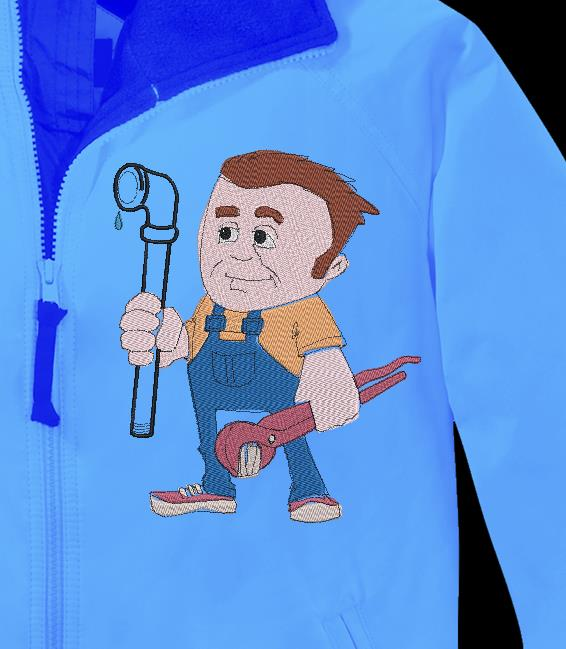 plumber machine embroidery design of a plumber with his hose and his frame work tool 13 x 18/20 x 30 File formats PES, CSD, EXP, HUS, SHV, VIP, XXX, DST, PCS, JEF, VP3, SEW EMB ...