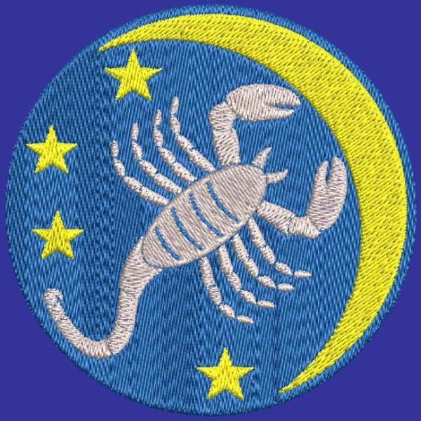 scorpio zodiac sign machine embroidery design