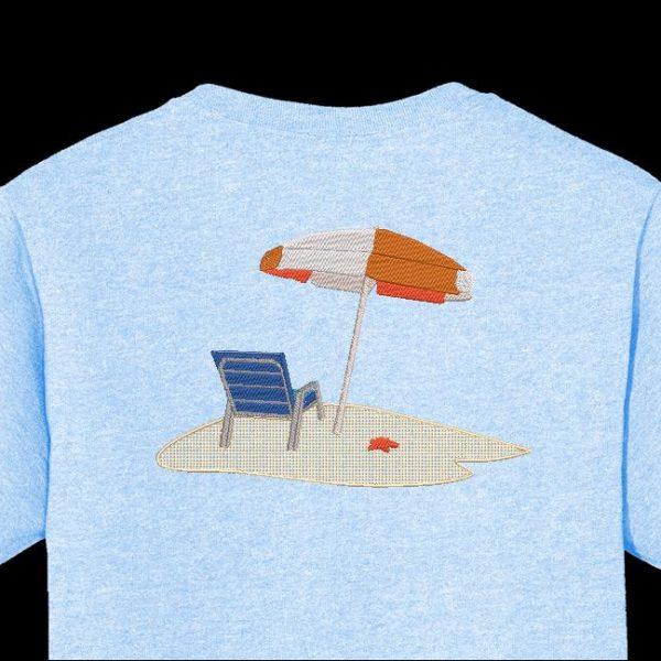 单独在沙滩上使用机器绣花设计的沙滩椅,上面带有白色和橙色的大型遮阳伞,以及在沙滩细沙上的海星12 x 18/30 x 20帧PES,CSD文件格式, EXP,HUS,SHV,VIP,XXX,DST,PCS,JEF,VP3,SEW,EMB ...即时下载