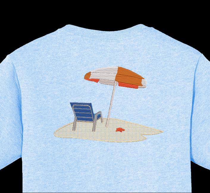 seul sur la plage Motif de broderie machine d'un fauteuil de plage avec un grand parasol blanc et orange ainsi qu'une étoile de mer sur le sable fin de la plage cadre 12 x 18 / 30 x 20 Formats des fichiers PES,CSD,EXP,HUS,SHV,VIP,XXX,DST,PCS,JEF,VP3,SEW,EMB… Téléchargement immédiat