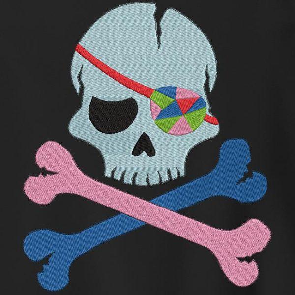 caveira pirata com tapa-olho multicolorido Moldura para desenho de bordado de máquina 10 x 10/13 x 18/20 x 30 Formatos de arquivo PES, CSD, EXP, HUS, SHV, VIP, XXX, DST, PCS, JEF, VP3, SEW… Download imediato