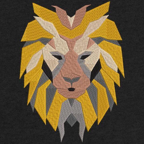 Diseño de bordado a máquina de descarga instantánea de una cabeza de león en formas geométricas