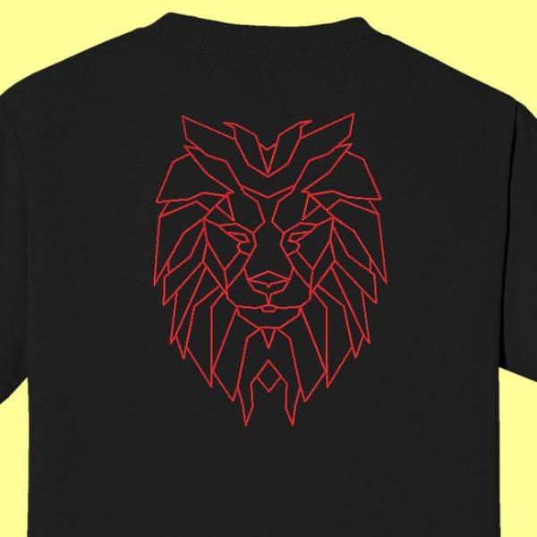 design de bordado de máquina de redwork geométrico de cabeça de leão