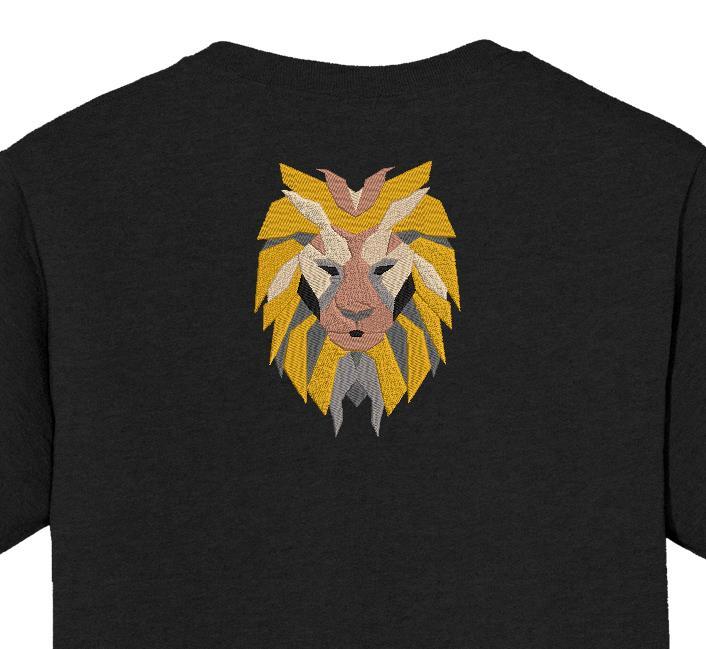 Desenho instantâneo do bordado da máquina de uma cabeça de leão em formas geométricas