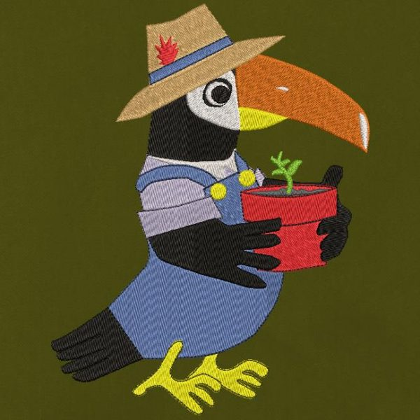 gardener toucan Machine embroidery design of a gardener toucan with his blue overalls and straw hat with a small feather. He holds in his hands or rather in his wings a pot with a small plant frame 10 x 10/20 x 20 File formats PES, CSD, EXP, HUS, SHV, VIP, XXX, DST, PCS, JEF, VP3, SEW , EMB… Instant download