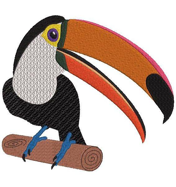 toucan sur une branche motif de broderie machine d' un très beau toucan posé sur une branche avec son son grand bec orange et son plastron blanc . Cet oiseau est en voie de disparition protégeons la nature et les espèces rares… cadre 10 x 10 / 20 x 20 Formats des fichiers PES,CSD,EXP,HUS,SHV,VIP,XXX,DST,PCS,JEF,VP3,SEW,EMB…