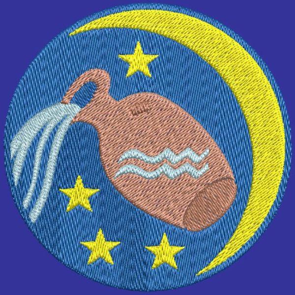 aquarius zodiac sign machine embroidery design