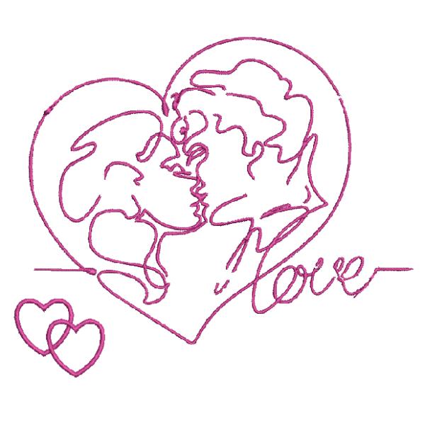 Ricamo a macchina Cuore che rappresenta un amorevole bacio di coppia