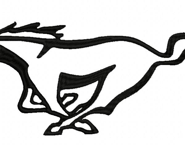 Motivo ricamo Machiune: cavallo mustant snello in una corsa folle