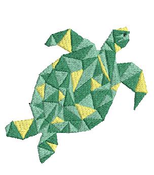 Ricamo a macchina: tartaruga gialla e verde