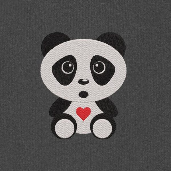 cute baby panda. Machine embroidery design of an adorable baby panda with cute little red heart. 10 x 10/20 x 20 frame. File formats PES, CSD, EXP, HUS, SHV, VIP, XXX, DST, PCS, JEF, VP3, EMB ... Immediate download after your payment.