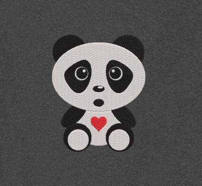 bébé panda mignon. Motif de broderie machine d'un adorable bébé panda tout mignon avec un petit cœur rouge. cadre 10 x 10/20 x 20 . Formats des fichiers PES,CSD,EXP,HUS,SHV,VIP,XXX,DST,PCS,JEF,VP3,EMB… Téléchargement immédiat après votre paiement.