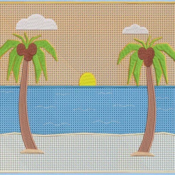 cocotiers sur la plage. Motif de broderie machine de deux majestueux cocotiers sur la plage, une invitation au voyage et aux vacances. cadre 20 x 20 /20 x 30. Formats des fichiers PES,CSD,EXP,HUS,SHV,VIP,XXX,DST,PCS,JEF,VP3,EMB… Téléchargement immédiat après votre paiement.