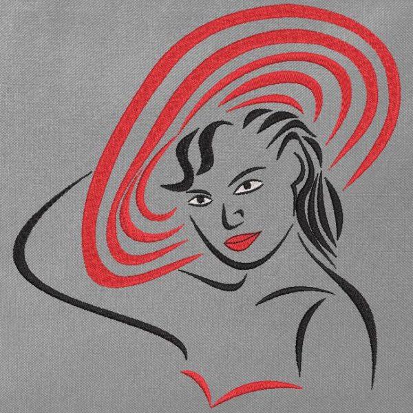 mujer con sombrero rojo. Diseño de bordado a máquina de una mujer con un elegante sombrero rojo. marco 10 x 10/15 x 15/20 x 20. Formatos de archivo PES, CSD, EXP, HUS, SHV, VIP, XXX, DST, PCS, JEF, VP3, EMB ... Descarga inmediata después de su pago.