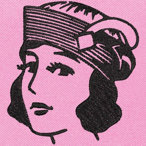 vintage woman with hat free machine embroidery design