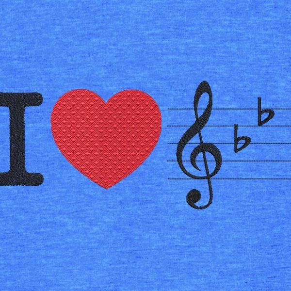 me gusta la musica. Diseño de bordado a máquina Me encanta la música con un gran corazón rojo. marco 10 x 10/13 x 18/16 x 26. Formatos de archivo PES, CSD, EXP, HUS, SHV, VIP, XXX, DST, PCS, JEF, VP3, EMB ... Descarga inmediata después de su pago.