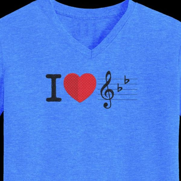 I love music. Machine embroidery design I love music with a big red heart. frame 10 x 10/13 x 18/16 x 26. File formats PES, CSD, EXP, HUS, SHV, VIP, XXX, DST, PCS, JEF, VP3, EMB ... Immediate download after your payment.