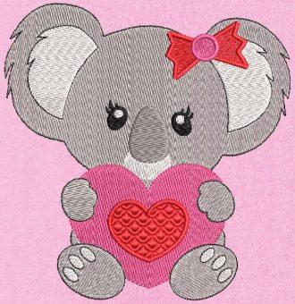 koala avec un cœur. Motif de broderie machine d'un mignon petit koala tenant dans ses pattes un cœur rouge et rose. cadre 10 x 10 /13 x 18 / 20 x 20 . Formats des fichiers PES,CSD,EXP,HUS,SHV,VIP,XXX,DST,PCS,JEF,VP3,EMB… Téléchargement immédiat après votre paiement.