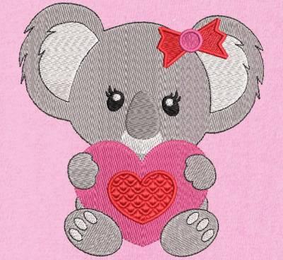 Koala con un corazón. Diseño de bordado a máquina de un lindo y pequeño koala con un corazón rojo y rosa en sus patas. marco 10 x 10/13 x 18/20 x 20. Formatos de archivo PES, CSD, EXP, HUS, SHV, VIP, XXX, DST, PCS, JEF, VP3, EMB ... Descarga inmediata después de su pago.
